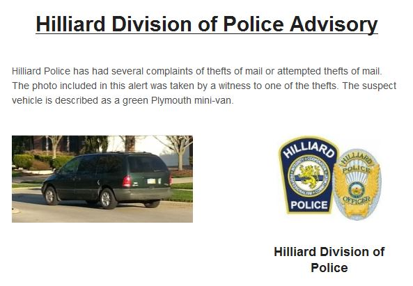 Hilliard Division of Police Advisory: Mail Thefts
