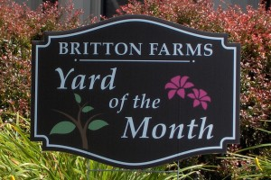 Britton Farms Yard of the Month Sign